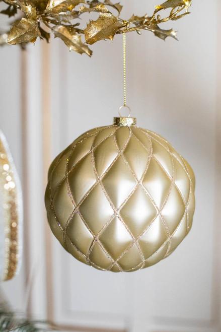 150MM Matt Glitter Net VP Ball Ornament Champagne