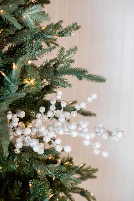 """29"""" Glitter Crabapple Christmas Spray - White"""