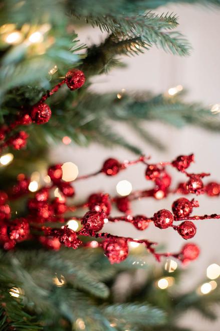 "30"" Glitter Mini Pomegranate Christmas Spray - Red"