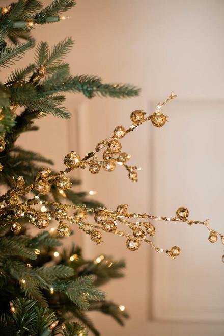 """30"""" Mini Pomegranate Glitter  Christmas Spray- Gold"""