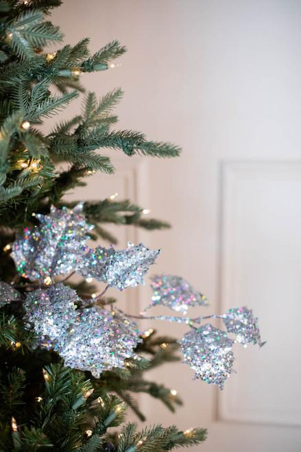 """32"""" Gem Glitter Holly Leaf Christmas Spray - Silver"""