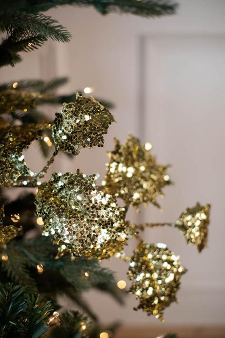 """32"""" Gem Glitter Holly Leaf Christmas Spray - Gold"""