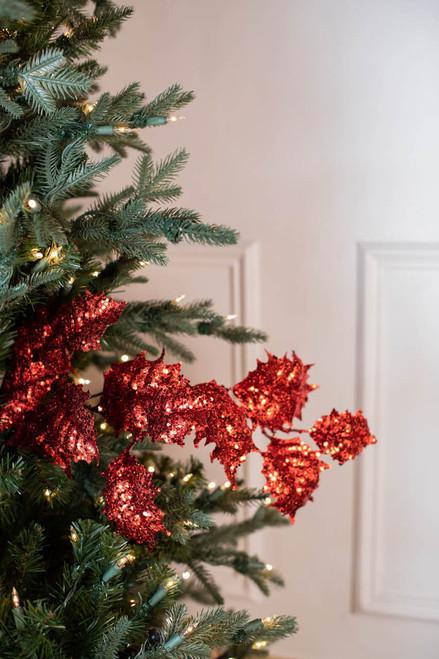 """32"""" Gem Glitter Holly Leaf Christmas Spray - Red"""