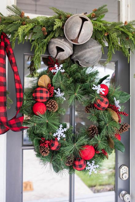 """30"""" Farmhouse Buffalo Check Wreath"""
