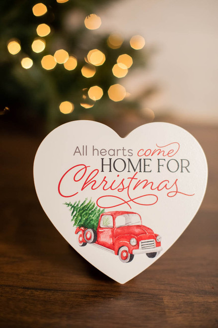 """5.5"""" All Hearts Come Home For Christmas Decor Block"""