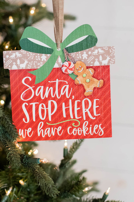 """7.5"""" Santa Stop Here We Have Cookies Wreath Attachment Sign"""