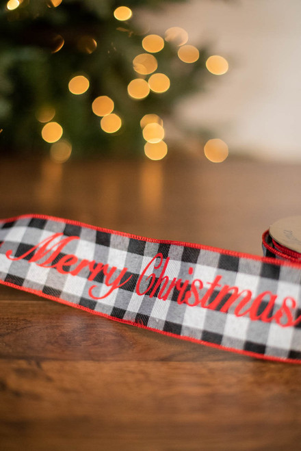 "2.5"" x 10 Yard Checker Merry Christmas Ribbon"