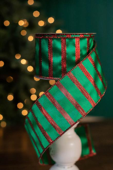 "2.5"" x 10 Yard Red and Green Stripe Ribbon"