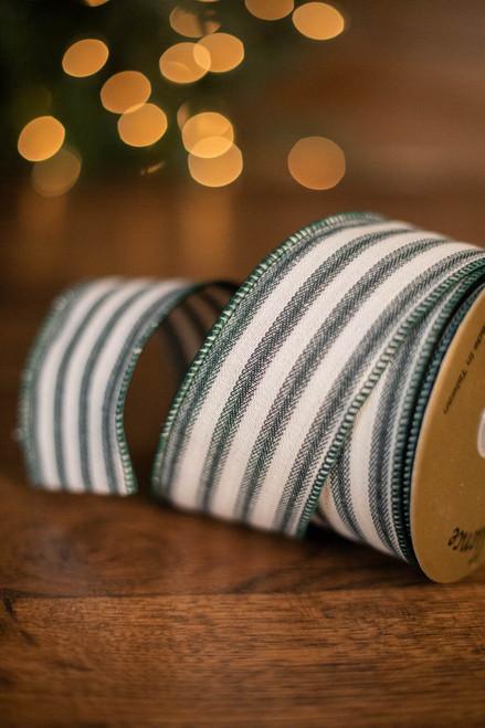 "2.5"" x 10 Yard Green Linen Stripe Ribbon"