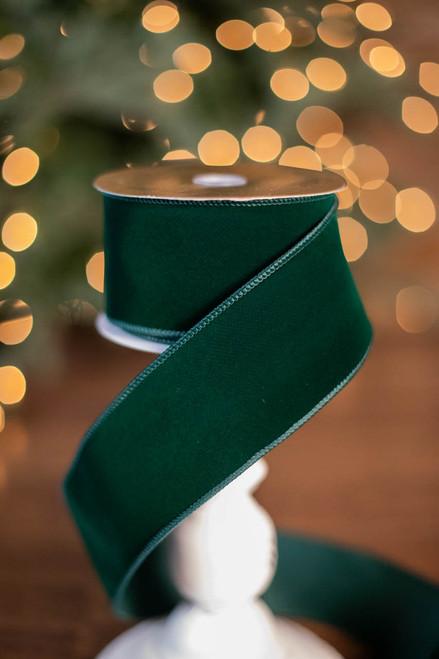 "2.5"" x 10 Yard Green Velvet Wired Edge Ribbon"