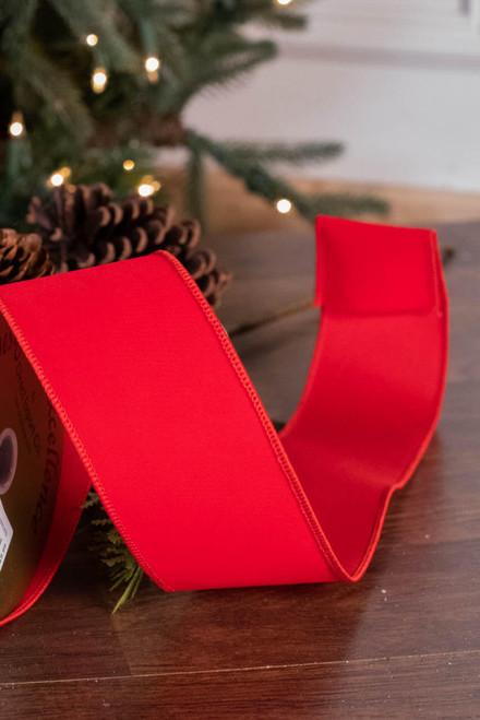 "2.5"" x 10 Yard Red Velvet Wired Red Edge Ribbon"