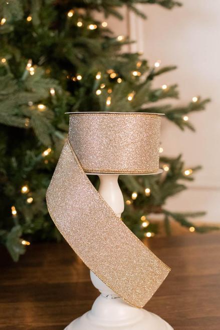 "2.5"" x 10 Yard Printed Glitter Satin Ribbon"