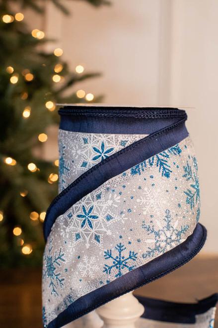 "4"" x 10 Yard Glitter Snowflake On Dupioni Ribbon"