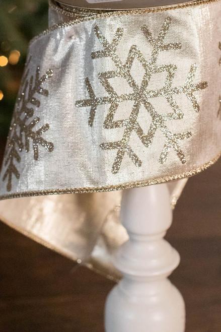 "4"" x 10 Yard Champagne Snowflake Glitter Ribbon"