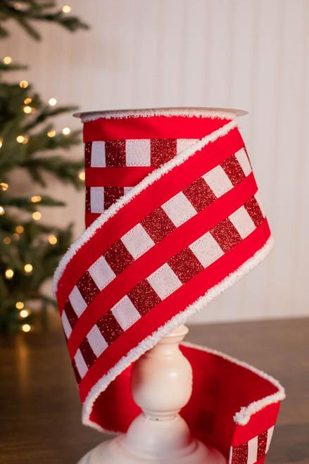 "4"" x 10 Yard Red and White Fur Edge Check Stripe Velvet Ribbon"