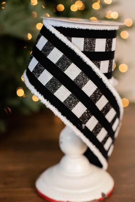"4"" x 10 Yard Fur Edge Check Stripe Velvet Ribbon"