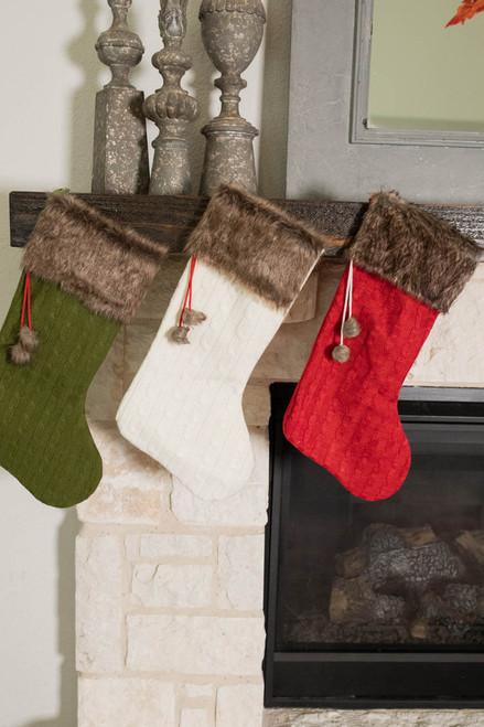 """22"""" Sweater Knit Stocking w/ Faux Fur Cuff"""