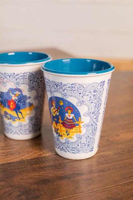 Texas Themed Melamine Cups - Set Of 4
