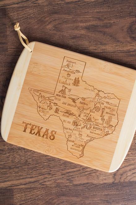Bamboo Texas Symbols Cutting Board