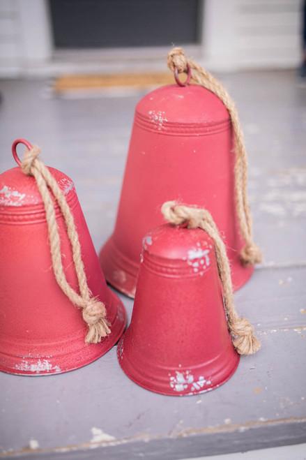 Red Tin Porch Bells - Set of 3