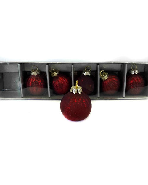 40MM Matte Red Glass Ball Ornament Name Card Holders - Set Of 6