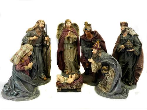 Small Resin Fabric Look Nativity - Set Of 7