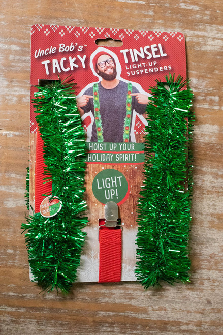 Uncle Bob's Tacky Tinsel Light-Up Suspenders