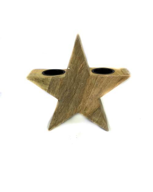 Wood star candelholder