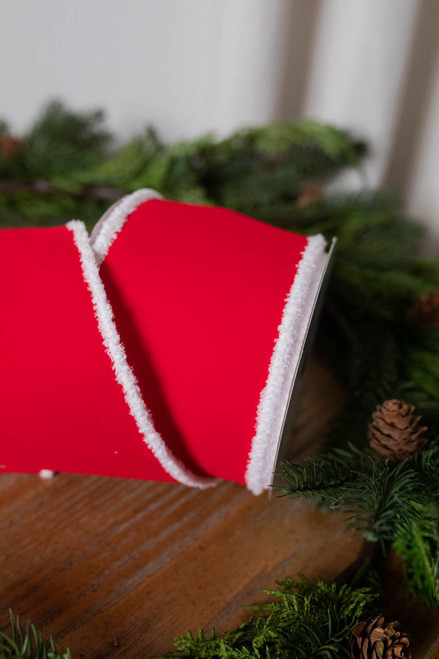 """4"""" x 10 Yard Red with Snow Edge Ribbon"""