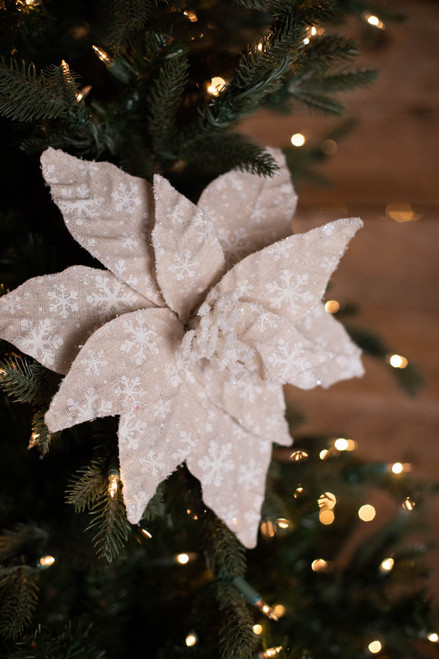 "22"" Linen Snowflake Poinsettia Stem"