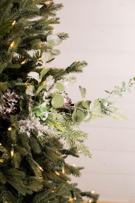 """28"""" Snow Pine Eucalyptus Spray"""