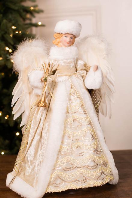 "16"" Angel Tree Topper White Gold W/ Trumpet/Hat"