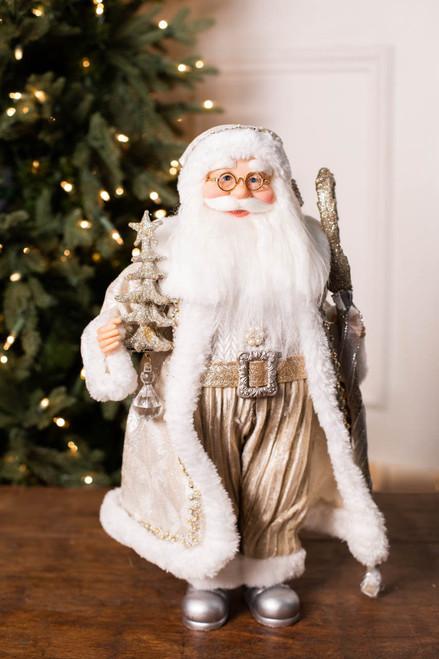"18"" Standing Santa Platinum W/ Staff/Tree"