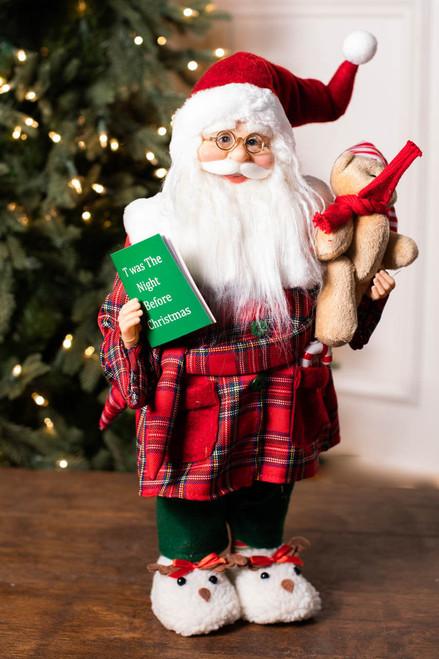 """18"""" Standing Santa Pajamas/Book/Teddy Bear"""