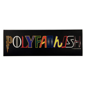 Polyfannish geek bumper sticker with Doctor Who, Harry Potter, Star Wars, Star Trek, comics, anime, Supernatural, Game of Thrones