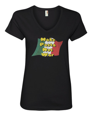 Hetalia Women's V-Neck Fitted T-Shirt Make Pasta Not War!