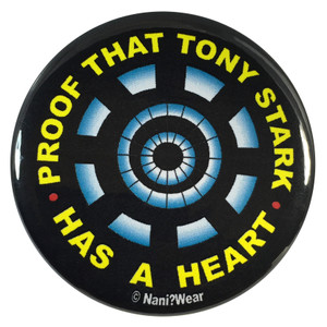 Iron Man 2.25 Inch Geek Button Proof That Tony Stark Has a Heart