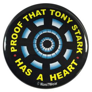 Iron Man 2.25 Inch Geek Button Proof That Tony Stark Has a Heart