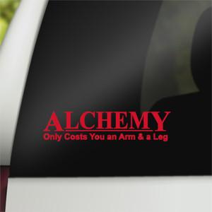 Fullmetal Geek Vinyl Car Decal Alchemy Only Costs Arm & Leg