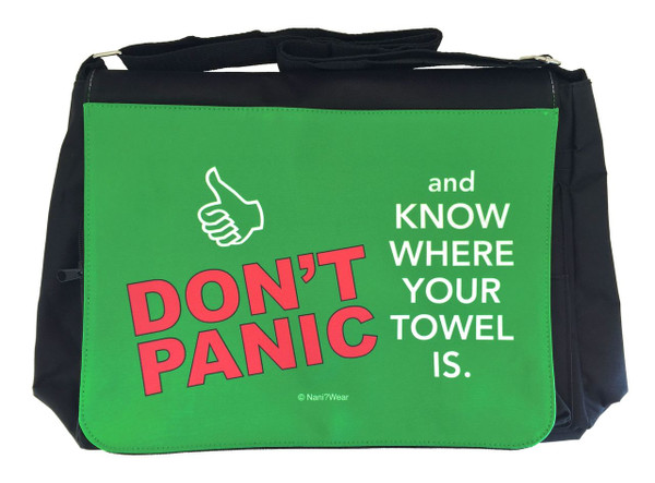 HitchHiker's Guide Inspired Large Messenger/Laptop Bag: Don't Panic