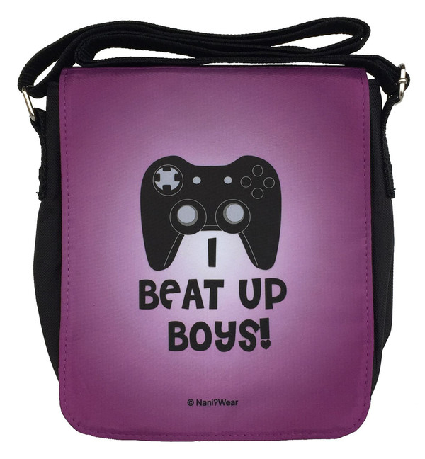 Gamer Girl Small Messenger Bag: I Beat Up Boys