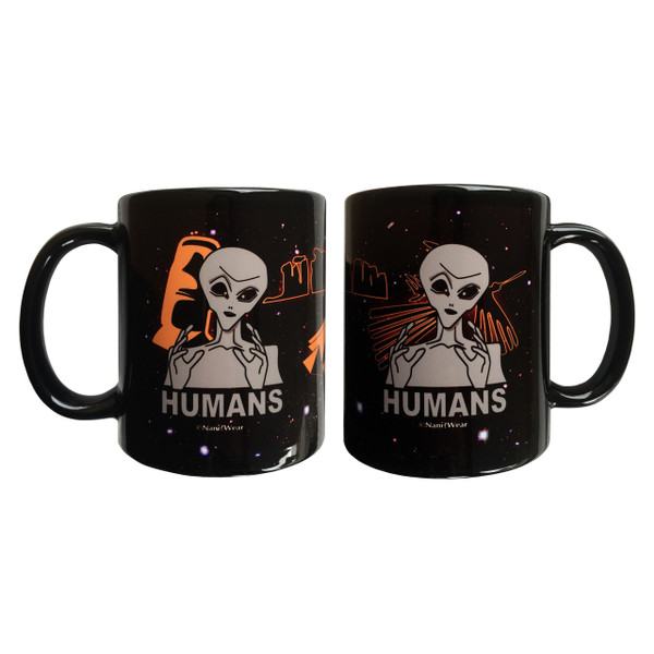 Ancient Aliens inspired double-sided 11oz coffee mug Humans with Stonehenge, Nazca lines, and Easter Island heads