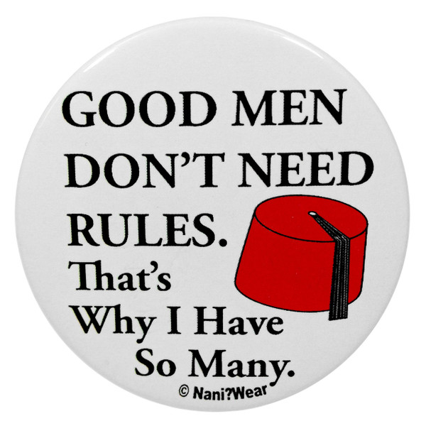 11th Doctor Who 2.25 Inch Button Good Men Don't Need Rules