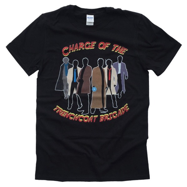 Superheroes Mash-Up Geek T-Shirt Charge of the Trench Coat Brigade