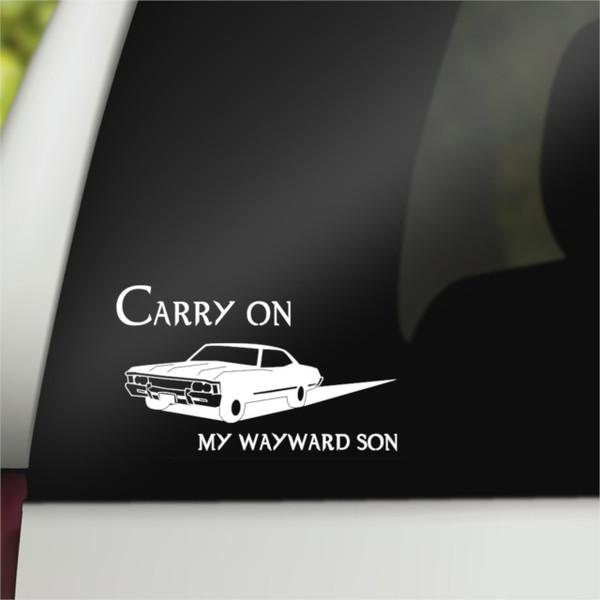 Supernatural Geek Vinyl Car Decal Carry on My Wayward Son