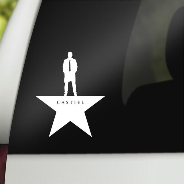 Supernatural Geek Vinyl Car Decal Castiel Hamilton Mash-Up