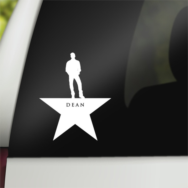 Supernatural Geek Vinyl Car Decal Dean Winchester Hamilton Mash-Up