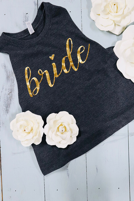 Super soft dark gray bride crop top. Metallic gold wording to match the pep in your step - and to keep the come ons away. Perfectly pairs with comfy pants, date night or a bikini bottom on the honeymoon. XS-2X. Generous fit.