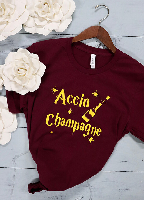 Harry Potter themed bachelorette party tees! The most fun a die hard fan can have at their last party as a Miss. Bella Canvas tees are a soft blend of poly/cotton and have a cute fit. You and your besties will likely wear this shirt over and over again. Accio favorite shirt. Other designs available upon request.
