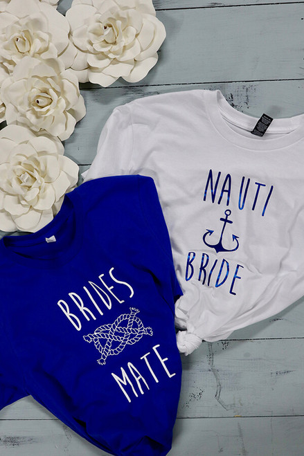 Nauti Bride and Brides Mate - lake or water themed bachelorette party tees! The most clever and cutest coverups you can wear, - really. Pairs perfectly with any water theme.  Bella Canvas tees are a soft blend of poly/cotton and have a cute unisex  fit. You and your besties will likely wear this shirt over and over again. This is the Bride tee.